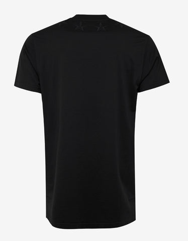 Givenchy Black Oversized T-Shirt with Tonal Stars