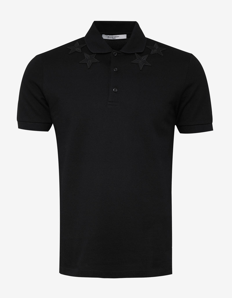 Black Cuban Fit Polo T-Shirt with Tonal Stars