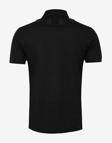 Givenchy Black Cuban Fit Polo T-Shirt with Tonal Stars