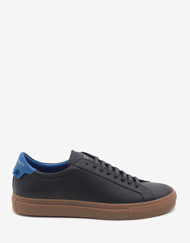 Givenchy Black Trainers with Blue Accent Detail