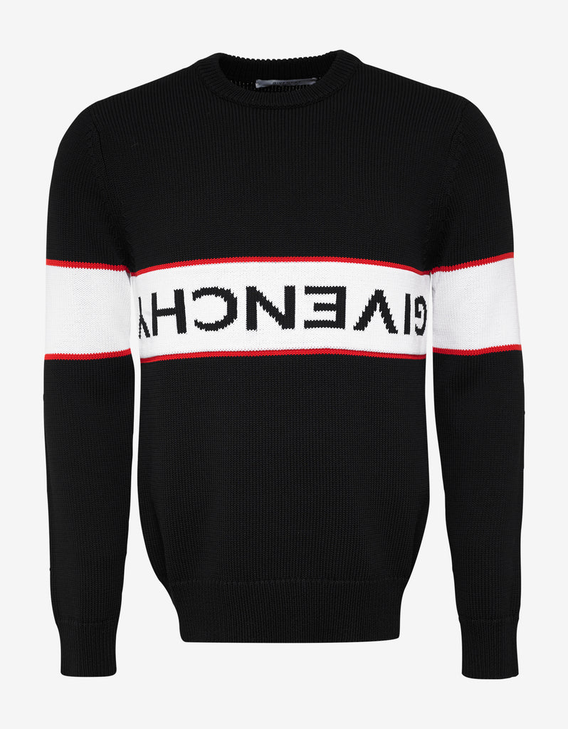 Black Upside Down Logo Panel Sweater