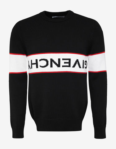 Givenchy Black Upside Down Logo Panel Sweater