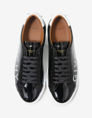 Black Urban Street Leather Trainers