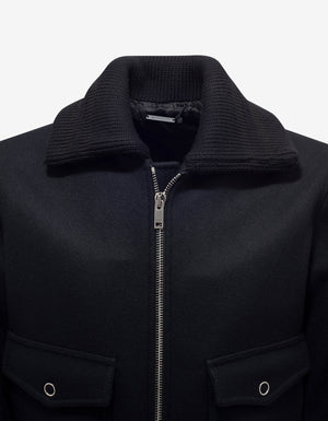 Black Wool Bomber Jacket