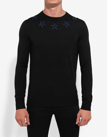 Givenchy Black Wool Sweater with Stars