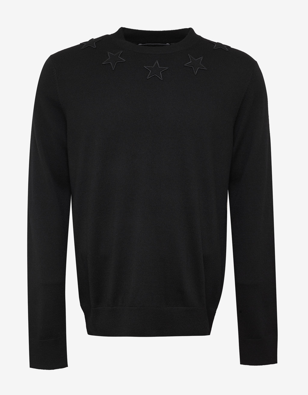 Black Wool Sweater with Tonal Stars