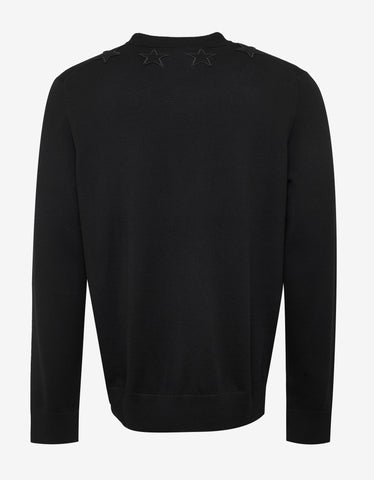 Givenchy Black Wool Sweater with Tonal Stars