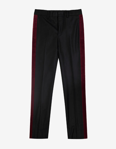 Givenchy Black Wool Trousers with Burgundy Trim