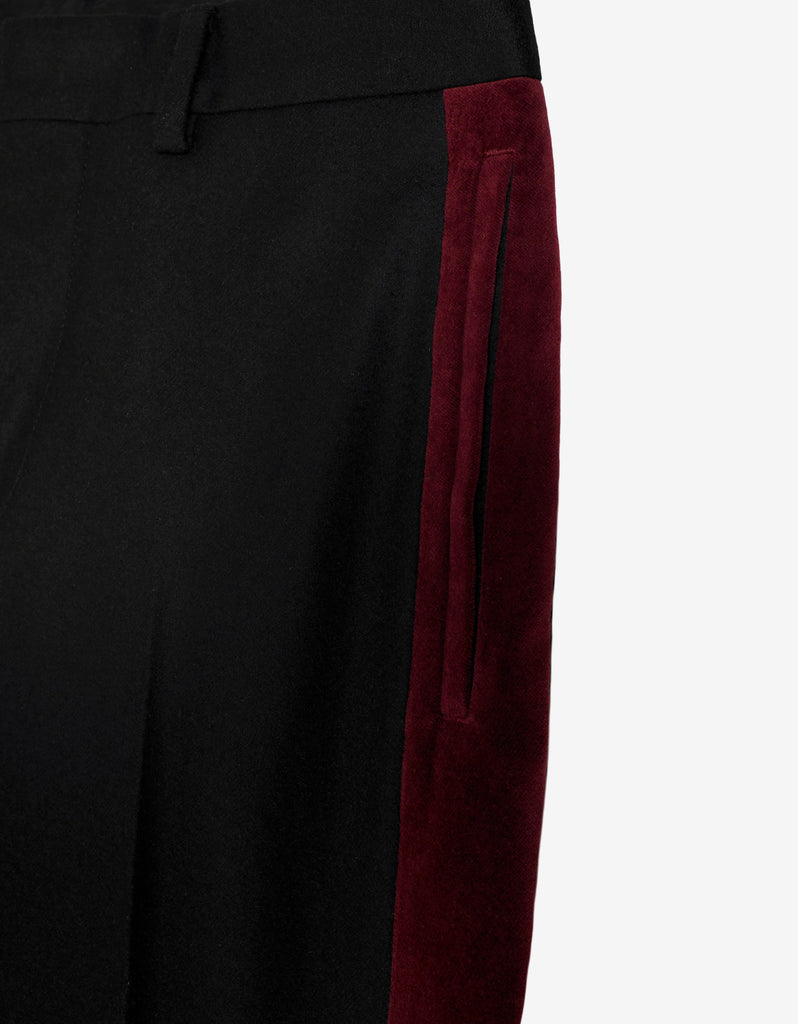 Black Wool Trousers with Burgundy Trim
