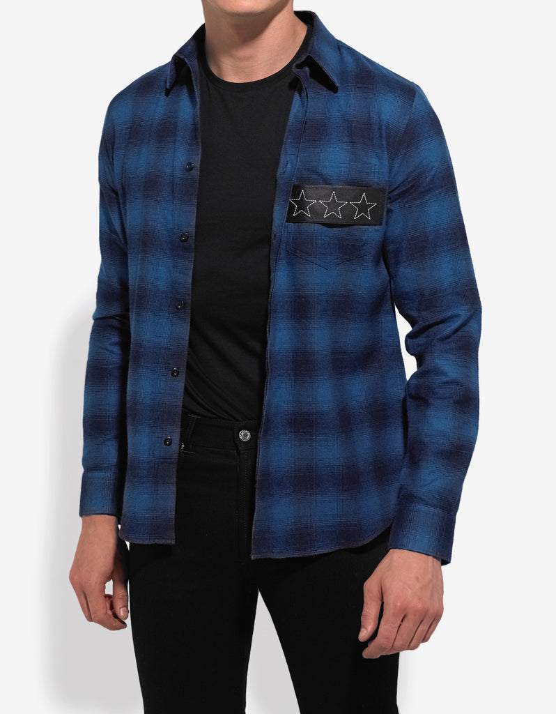 Blue Check Shirt with Leather Stars Band