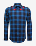 Blue Check Shirt with Red Stars