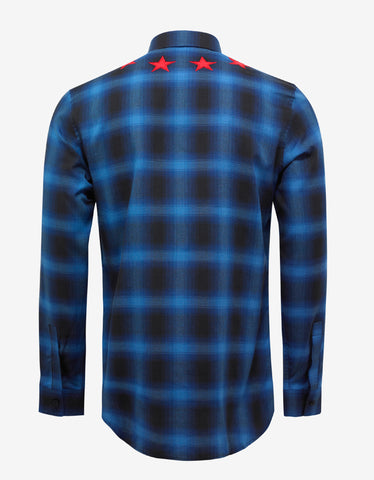 Givenchy Blue Check Shirt with Red Stars