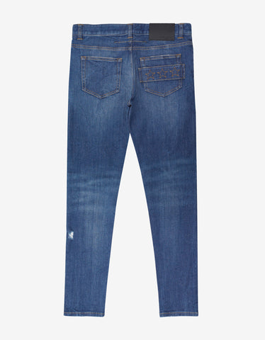 Givenchy Blue Distressed Star Embroidery Jeans
