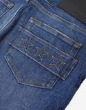Blue Distressed Star Embroidery Jeans