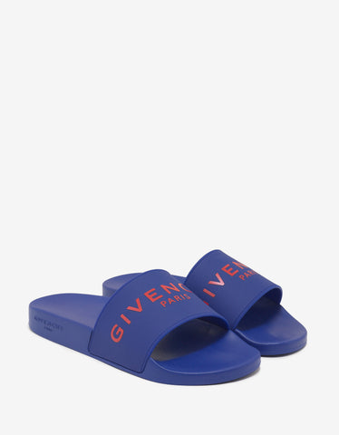 Givenchy Blue Logo Embossed Slide Sandals