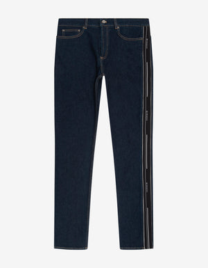 Blue Slim Jeans with Logo Bands