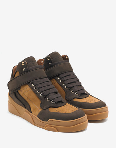 Givenchy Brown & Beige Nubuck Leather High Top Trainers