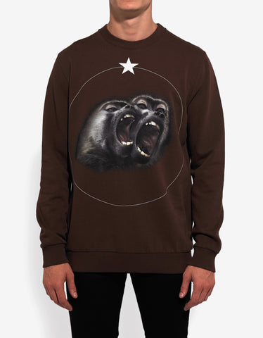Givenchy Brown Monkey Print Cuban Fit Sweatshirt