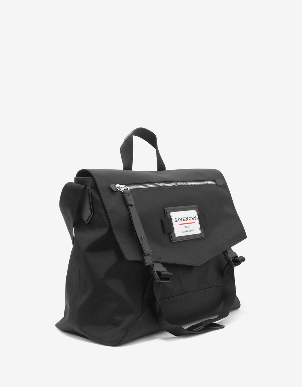 Downtown Black Nylon Messenger Bag