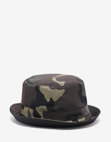 Givenchy Green Camouflage Print Reversible Bucket Hat