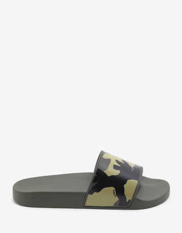 Givenchy Green Camouflage Print Slide Sandals