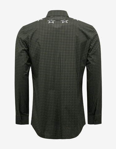 Givenchy Khaki Check Contemporary Fit Shirt with Stars