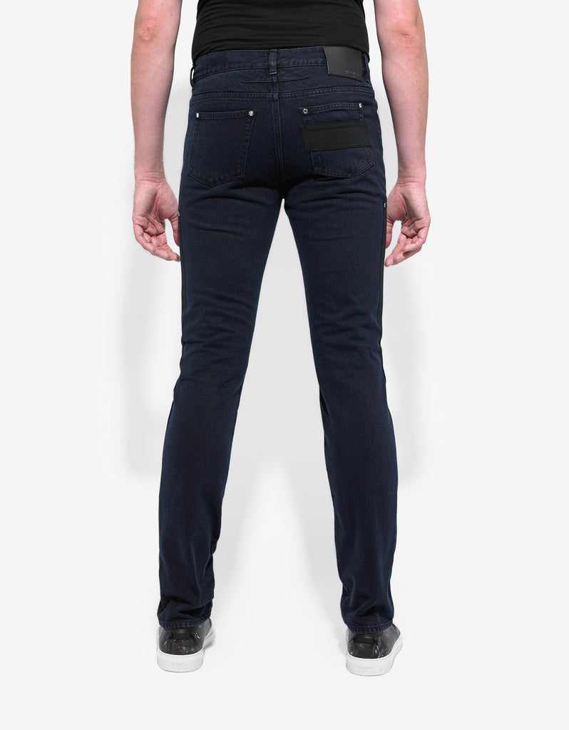 Indigo Wash Contrast Panel Denim Jeans