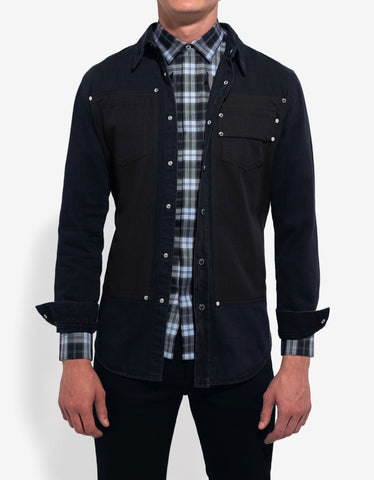 Givenchy Indigo Wash Contrast Panel Denim Shirt