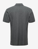 Grey Logo Patch Cuban Polo T-Shirt