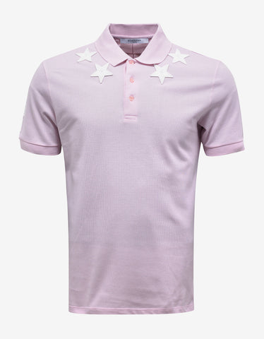 Givenchy Pink '74' Cuban Polo T-Shirt with Stars