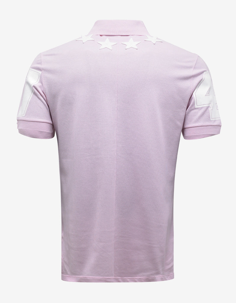 Pink '74' Cuban Polo T-Shirt with Stars