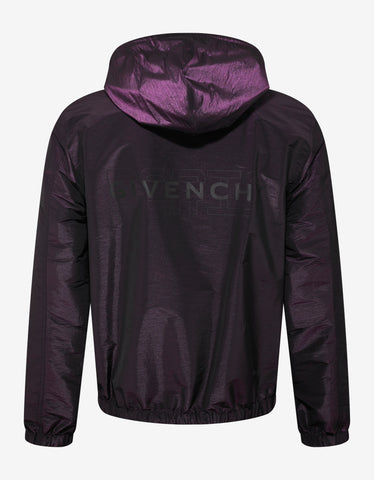 Givenchy Purple Iridescent Nylon Logo Windbreaker