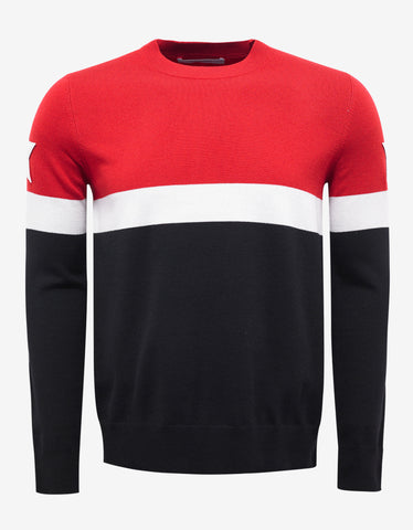 Givenchy Red & Black Star Embroidered Sweater
