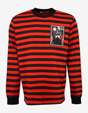 Givenchy Red & Black Stripe Graphic Patch Sweatshirt