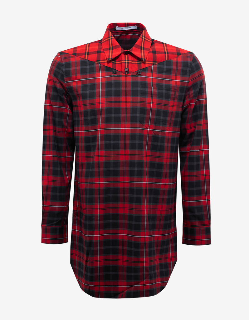 Red Check Columbian Fit Deep V Shirt