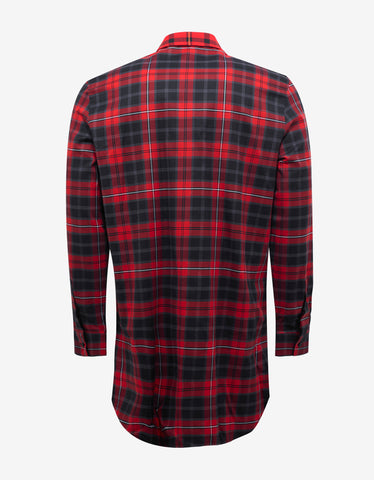 Givenchy Red Check Columbian Fit Deep V Shirt