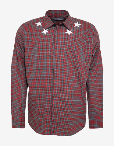 Givenchy Red Check Cracked Star Shirt