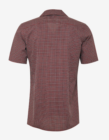 Givenchy Red Check Short Sleeve Shirt with Badges