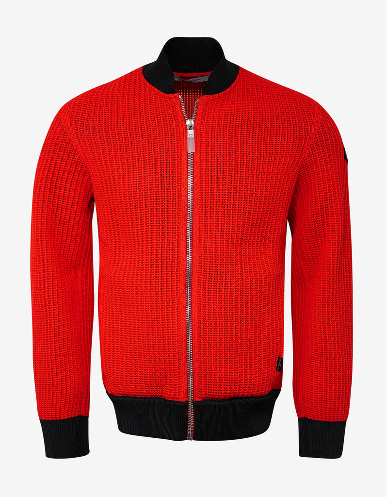 Red Knitted Bomber Jacket