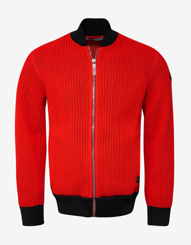 Givenchy Red Knitted Bomber Jacket