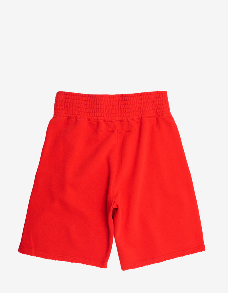 Red Logo Patch Distressed Sweat Shorts