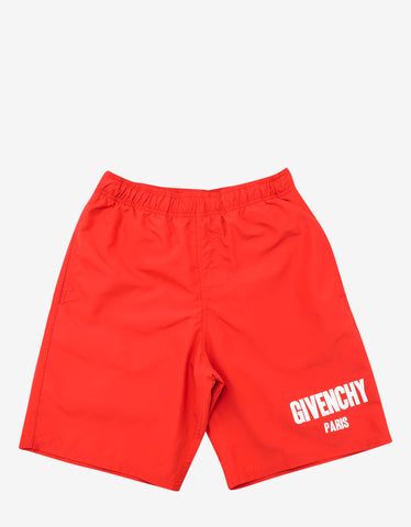 Givenchy Red Logo Print Swim Shorts
