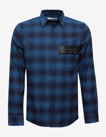 Givenchy Blue Check Shirt with Leather Stars Band
