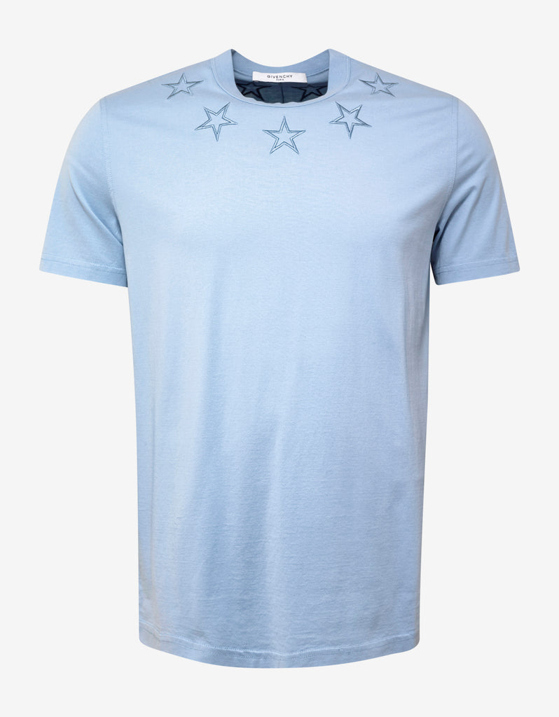 Sky Blue Star Embroidery Cuban Fit T-Shirt