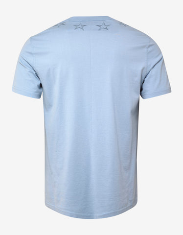 Givenchy Sky Blue Star Embroidery Cuban Fit T-Shirt