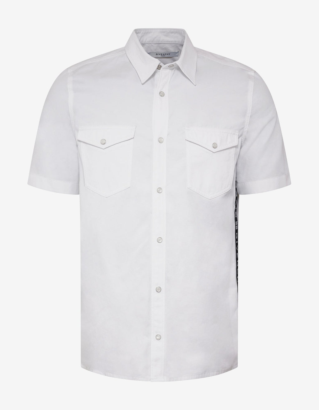 White 4G Logo Trim Short Sleeve Shirt -