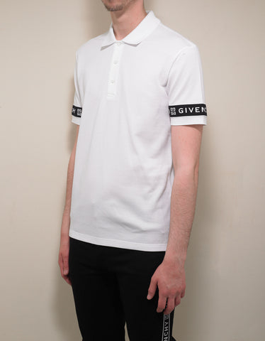 Givenchy White 4G Logo Trim Slim Fit Polo T-Shirt