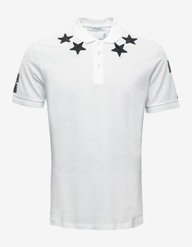 Givenchy White '74' Cuban Polo T-Shirt with Stars