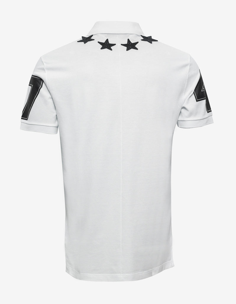 White '74' Cuban Polo T-Shirt with Stars