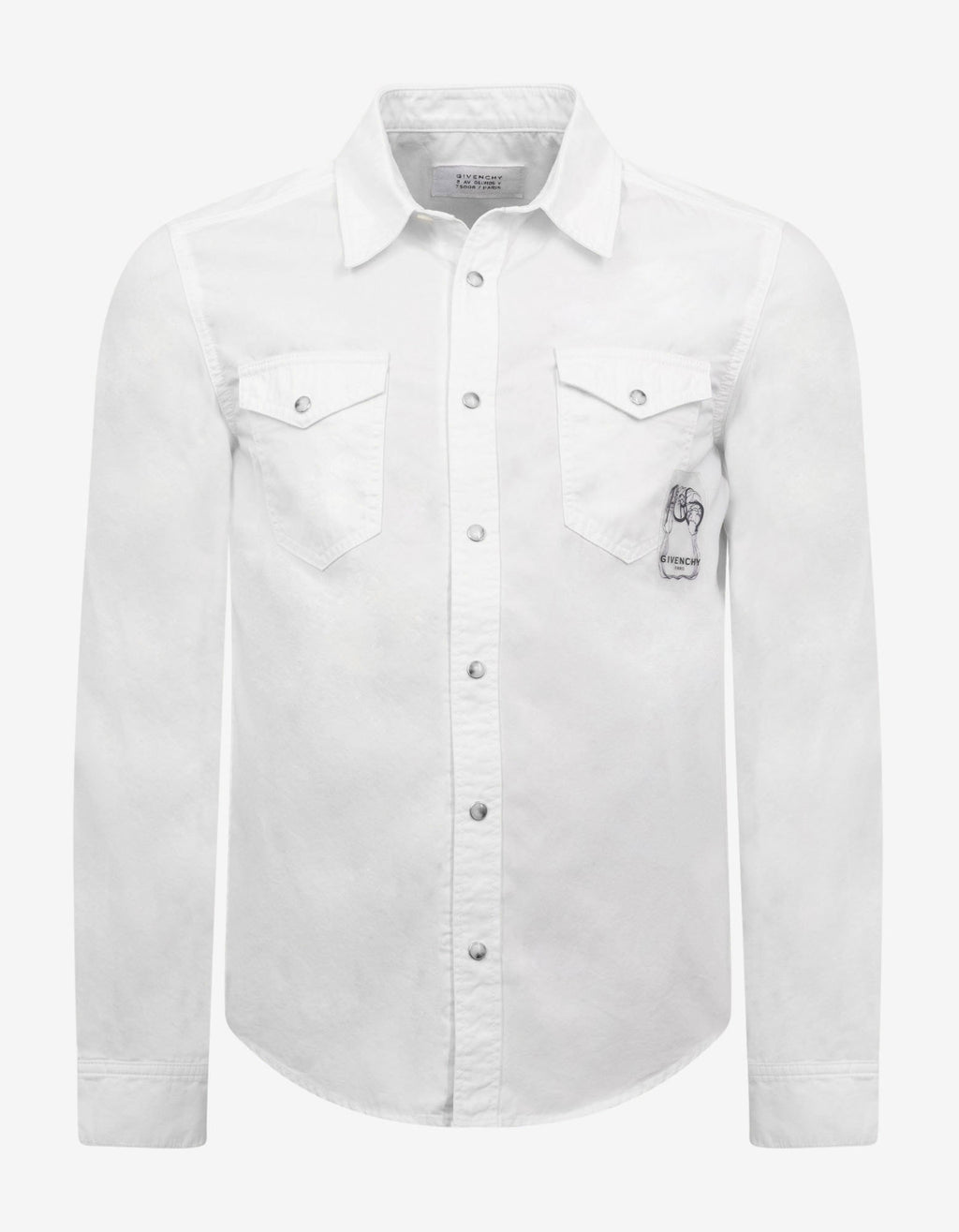 White Calligraphic Logo Embroidery Shirt
